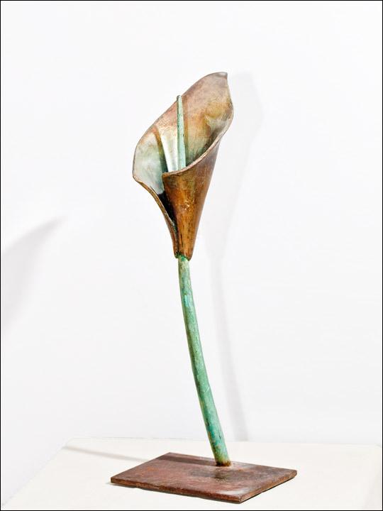 Flores de bronce - Cala sobre peana de acero.