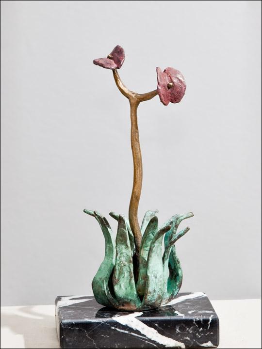 Figuras de bronce - Esculturas modernas - Flor crasa 7.