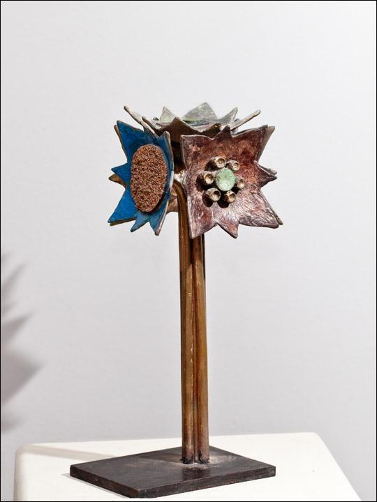 Escultura moderna - figuras de bronce - Flor abstracta 1