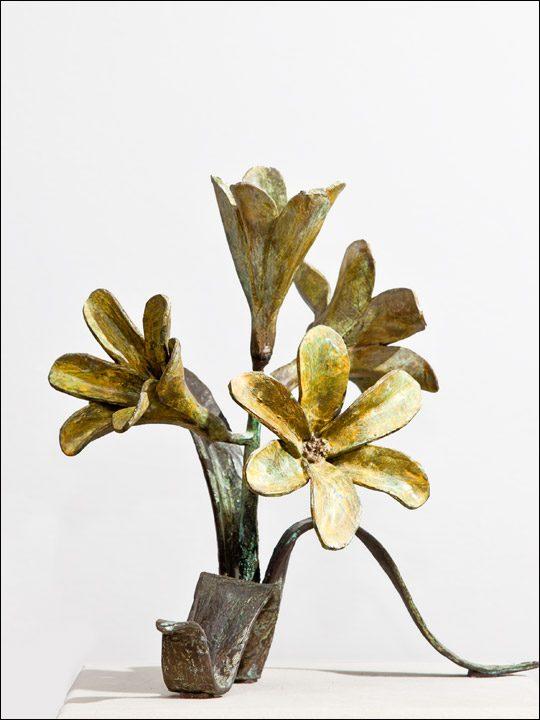 Flores bronce decoración - Figuras de bronce - Ramo amarillo.