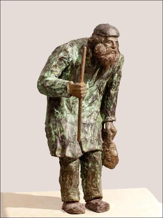 Figuras de bronce - Escultura de mendigo en bronce.