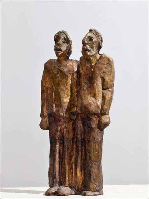 Escultura metal bronce. Dos mirones