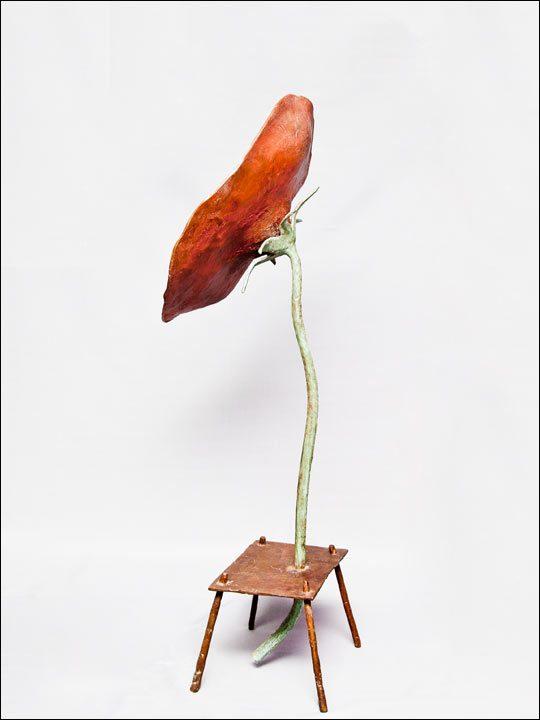 Esculturas de bronce - escultura moderna comprar. Amapola grande sobre mesa.