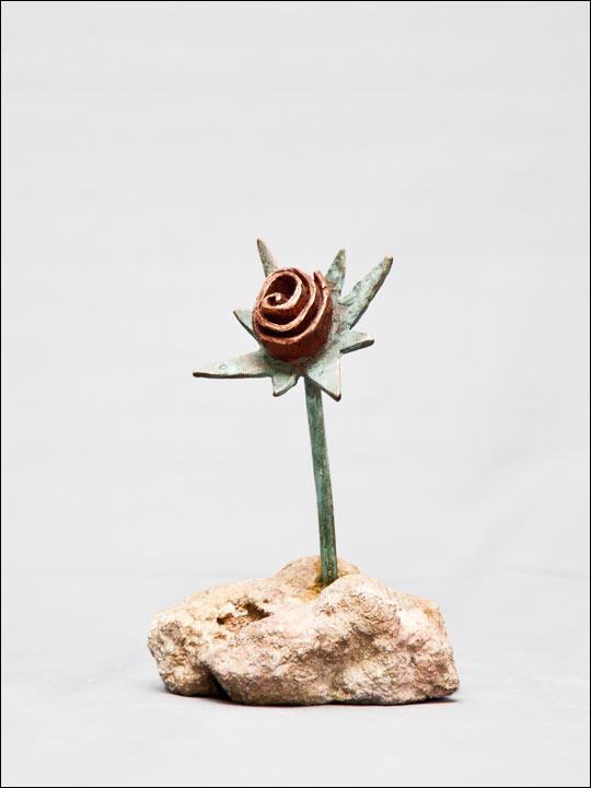 Figuras de bronce. Flor crasa 1