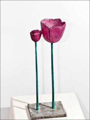 Figuras decoracion salon - flores de bronce - Tulipanes